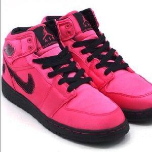 Hot Pink NIKE AIR JORDANS - Satin Basketball Shoes